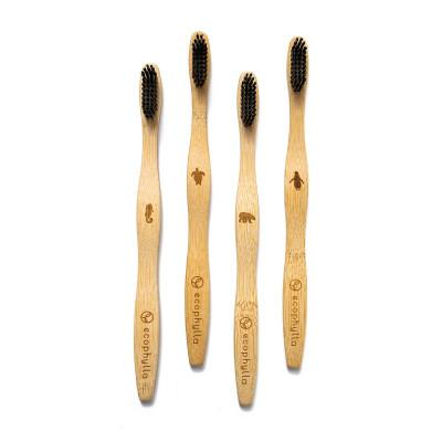 Spazzolini in bambù al carbone attivo, manico Wave