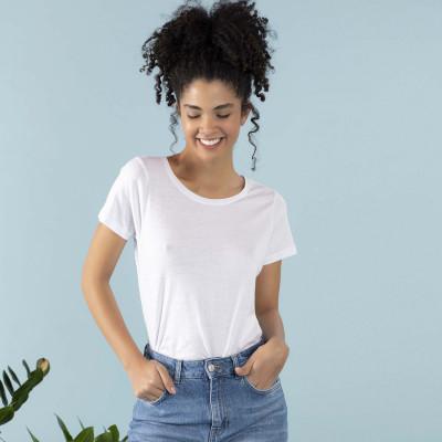 t-shirt girocollo in jersey elasticizzato